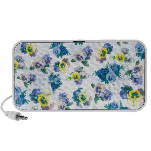 El pensamiento azul florece el estampado de flores altavoces de viajar
