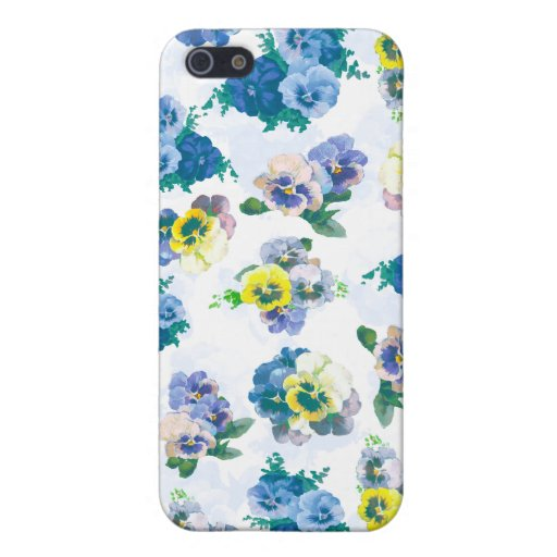 El pensamiento azul florece el estampado de flores iPhone 5 protectores
