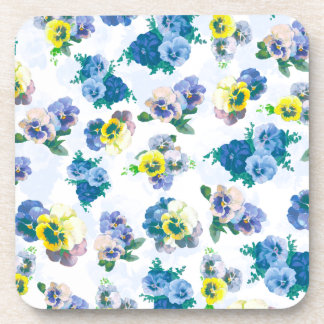 El pensamiento azul florece el estampado de flores posavasos de bebidas