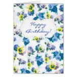 El pensamiento azul florece feliz cumpleaños del e tarjetón