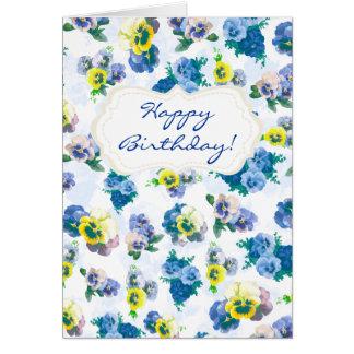 El pensamiento azul florece feliz cumpleaños del e tarjeta de felicitación
