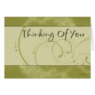 El pensamiento en usted (amarillo) carda tarjeton