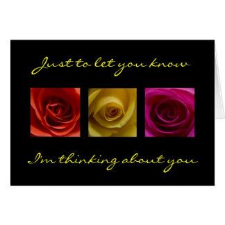 El pensamiento en usted carda - el rosa de rosas tarjeta de felicitación