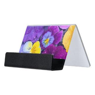 El pensamiento florece la flotación en baño del caja de tarjetas de visita para escritorio