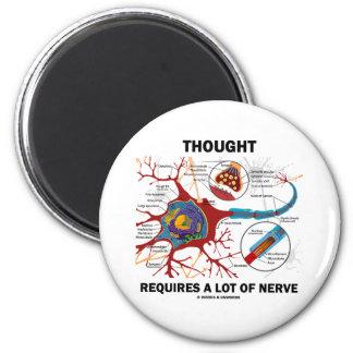 El pensamiento requiere mucho nervio (la sinapsis) imán redondo 5 cm