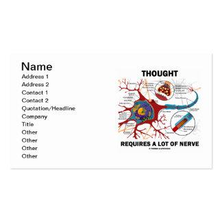 El pensamiento requiere mucho nervio (neurona/la tarjetas de visita