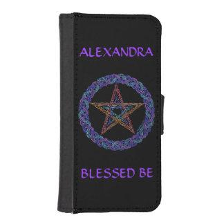 El Pentagram colorido Wicca pagano bendecido sea Billetera Para Teléfono