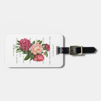 El Peony del vintage florece el poema romántico de Etiquetas Bolsas