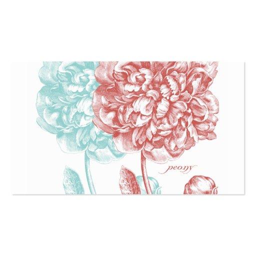 El Peony florece botánico Tarjetas De Visita