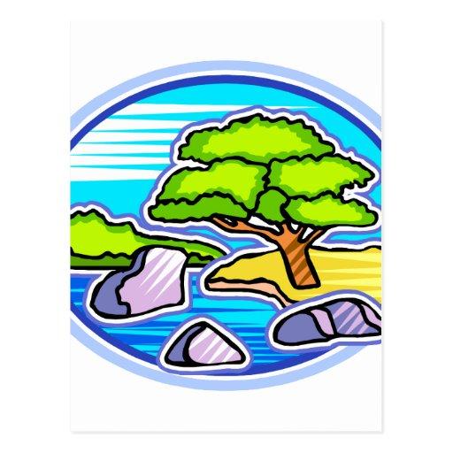 el pequeño árbol por los bonsais del agua tiene gu postal