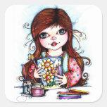 El pequeño artista que pinta las flores felices pegatina cuadradas personalizadas