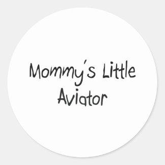 El pequeño aviador de la mamá pegatina redonda