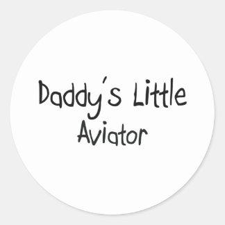 El pequeño aviador del papá pegatina redonda
