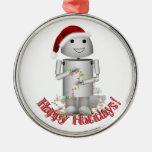 El pequeño ayudante de Santa - robot lindo, Adorno Redondo Plateado