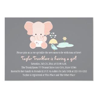 """El pequeño bebé del pájaro del elefante rosado invitación 5"""" x 7"""""""