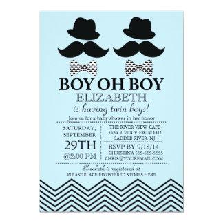"""El pequeño bigote del hombre del muchacho moderno invitación 5"""" x 7"""""""