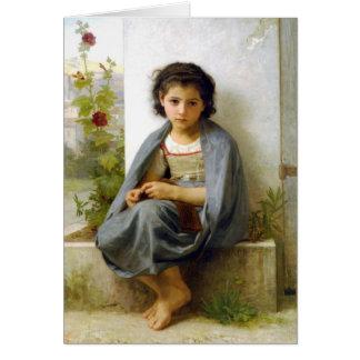 El pequeño calcetero - William-Adolphe Bouguereau Tarjeta De Felicitación