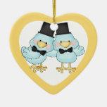 El pequeño casarse de los novios de los pájaros ornamento de navidad