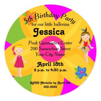 """El pequeño círculo del cumpleaños de la bailarina invitación 5.25"""" x 5.25"""""""