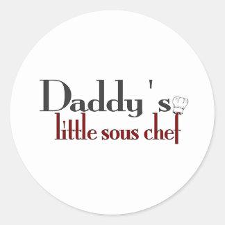 El pequeño cocinero sous del papá pegatina redonda