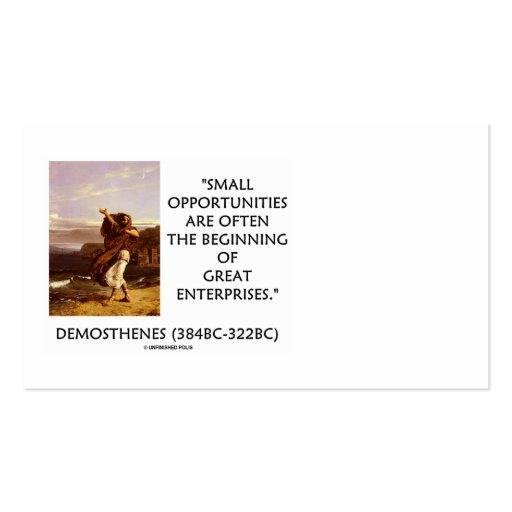 El pequeño comenzar de las oportunidades de tarjetas de visita