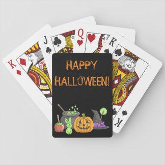 El pequeño conejito verde de Halloween Baraja De Póquer