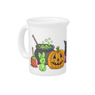 El pequeño conejito verde de Halloween Jarra Para Bebida