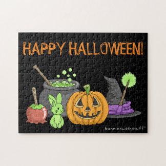 El pequeño conejito verde de Halloween Puzzle