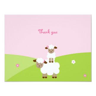 """El pequeño cordero dulce le agradece las tarjetas invitación 4.25"""" x 5.5"""""""