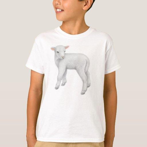 El pequeño cordero embroma la camiseta