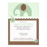 El pequeño cumpleaños neutral 5x7 del elefante (Gr