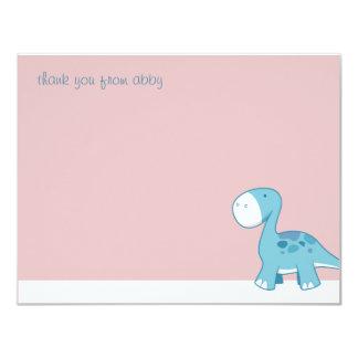 El pequeño Diplodocus azul el | plano le agradece Invitación 10,8 X 13,9 Cm
