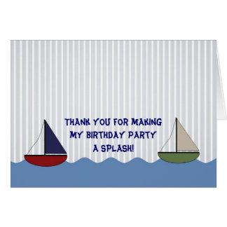 El pequeño doblar de los barcos le agradece tarjeta pequeña
