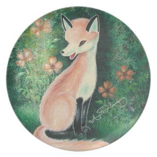 El pequeño Fox bonito Platos De Comidas