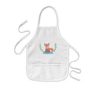 El pequeño Fox lindo del arbolado personalizado Delantal Infantil