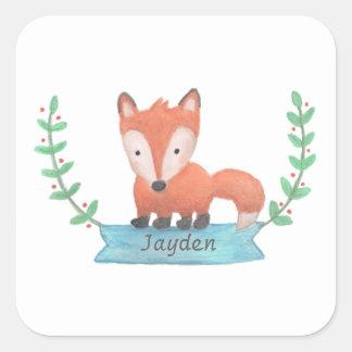 El pequeño Fox lindo del arbolado personalizado Pegatina Cuadrada