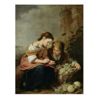 El pequeño Fruta-Vendedor 1670-75 Postal