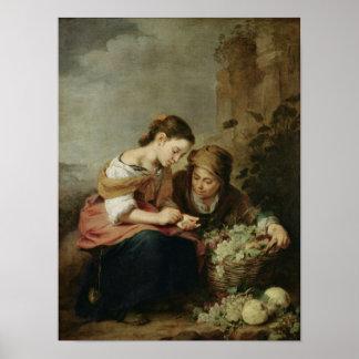 El pequeño Fruta-Vendedor, 1670-75 Póster