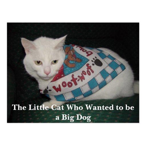 El pequeño gato que quiso ser un perro grande postal