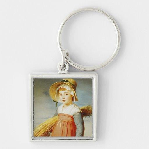 El pequeño Gleaner, 1824 Llavero Cuadrado Plateado
