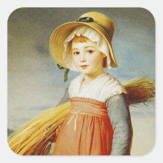 El pequeño Gleaner, 1824 Pegatinas Cuadradas