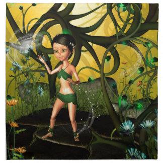 El pequeño jugar de hadas en un bosque mágico servilletas