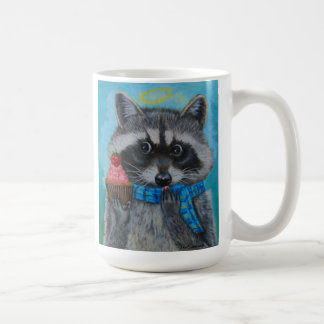 """El pequeño mapache de la """"magdalena divina """" ama s taza básica blanca"""