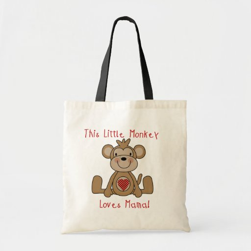 El pequeño mono ama a la mamá T-shirts y regalos Bolsas De Mano