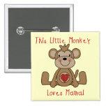 El pequeño mono ama a la mamá T-shirts y regalos Pins