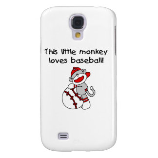 El pequeño mono ama béisbol y los regalos