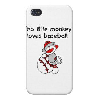 El pequeño mono ama béisbol y los regalos iPhone 4 protector