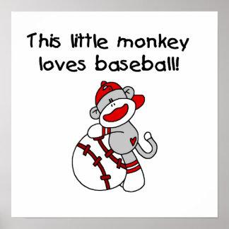 El pequeño mono ama las camisetas y los regalos de póster