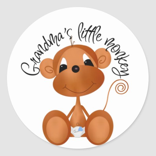 El pequeño mono de la abuela - camisetas y regalos pegatina redonda