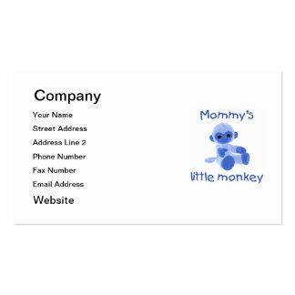 El pequeño mono de la mamá (azul) tarjetas de visita